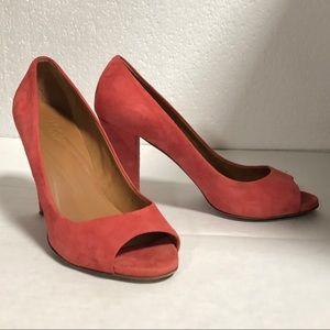Madewell Coral Suede Peep Toe Heels